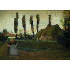 JOHN Y. JOHNSTONE, RCA 1887-1930 - Brittany Farm House ca 1915